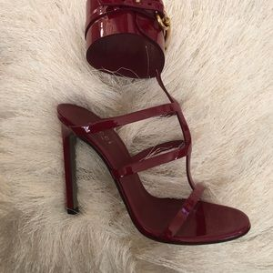 Gucci raspberry colored ankle straps high heel